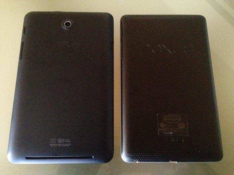 Nexus7(2012)とMeMo Pad ME173の背面