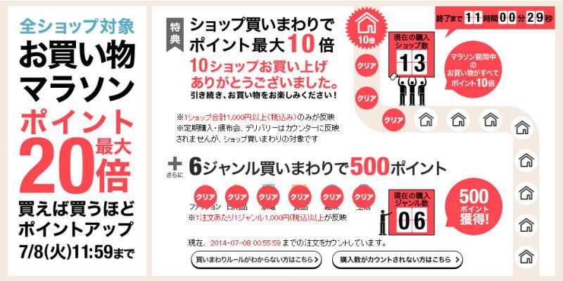 楽天市場お買い物マラソン13店舗&6ジャンル買い回り達成!