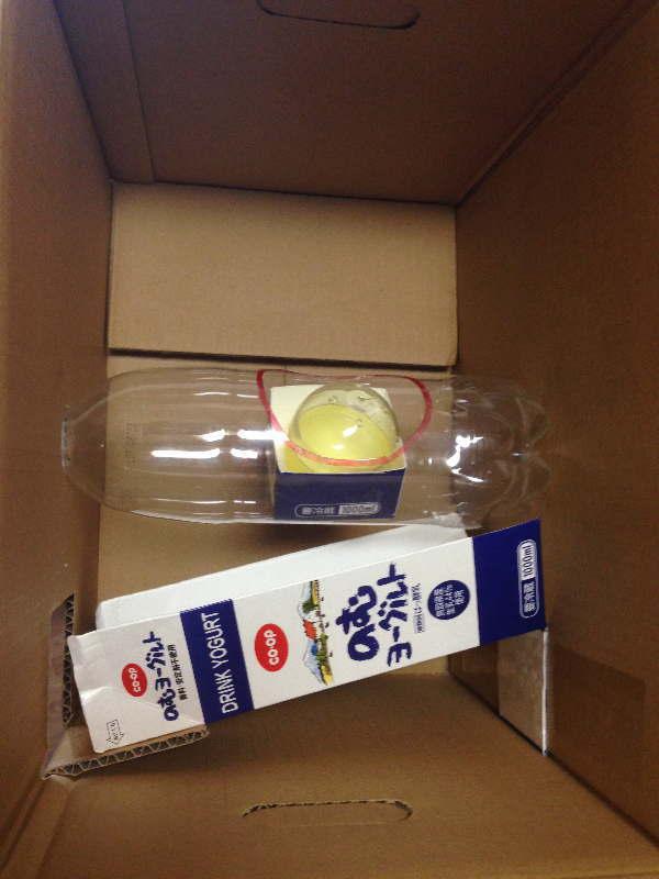 ダンボール箱の内側にペットボトルを固定