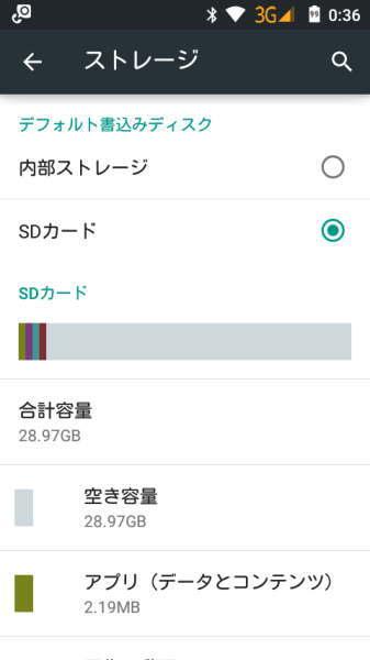デフォルトの書き込みディスクは自動的にSDカードに