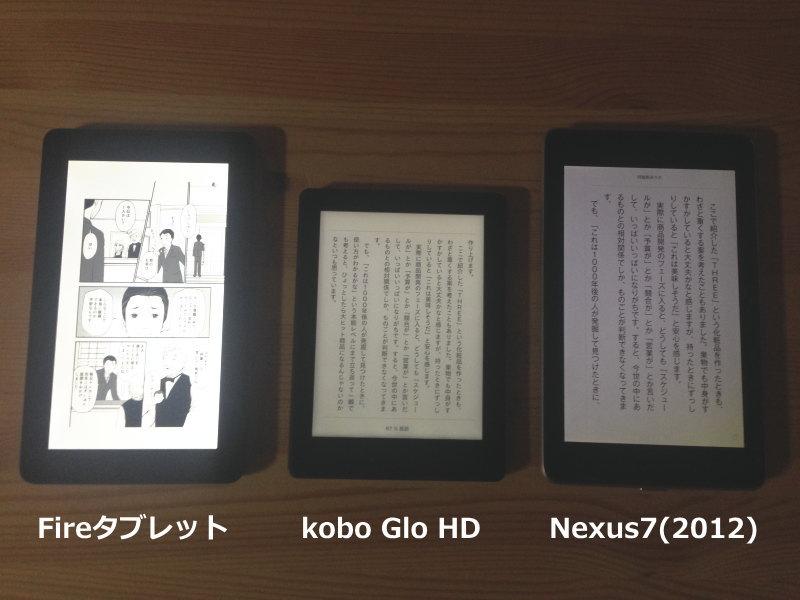 Fireタブレット、kobo Glo HD、Nexus7サイズ比較