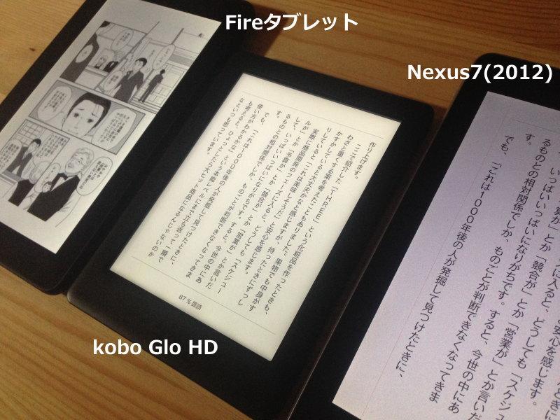 Fireタブレット、kobo Glo HD、Nexus7画面比較