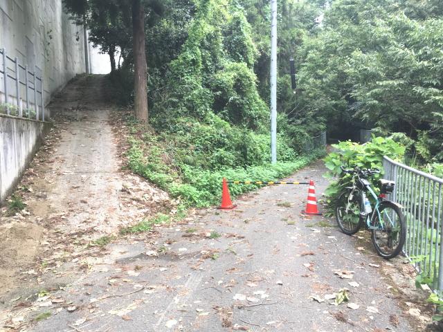 トトロ街道、美加の台駅南側で通行止め