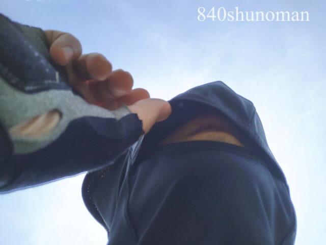 パールイズミ・コールドシェイドUVフェイスカバーFA-3Kは下から見るとこんな感じ